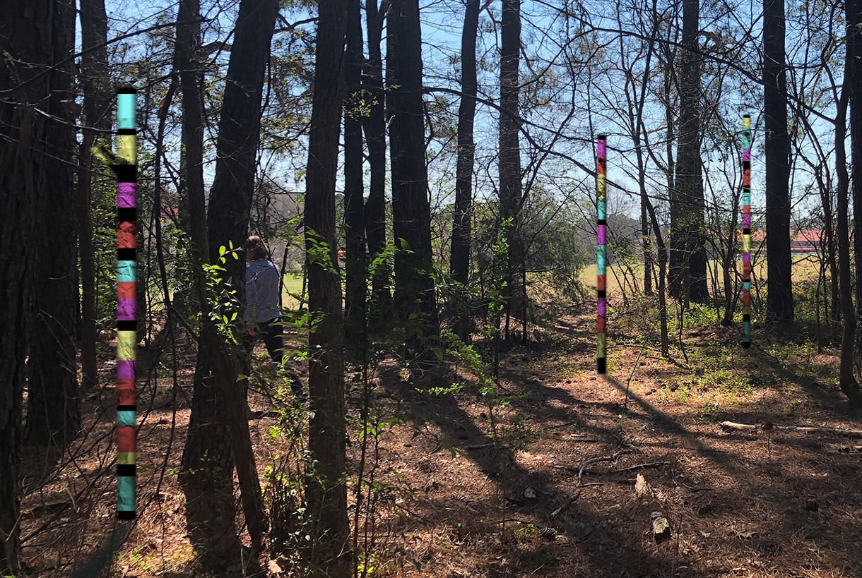 Brightly colored totem structures between trees