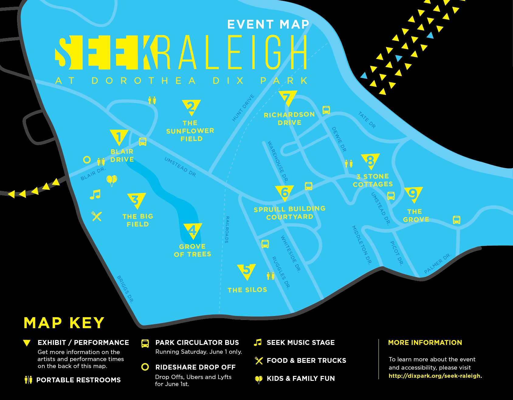 SEEK Raleigh Map of art installations at Dix Park