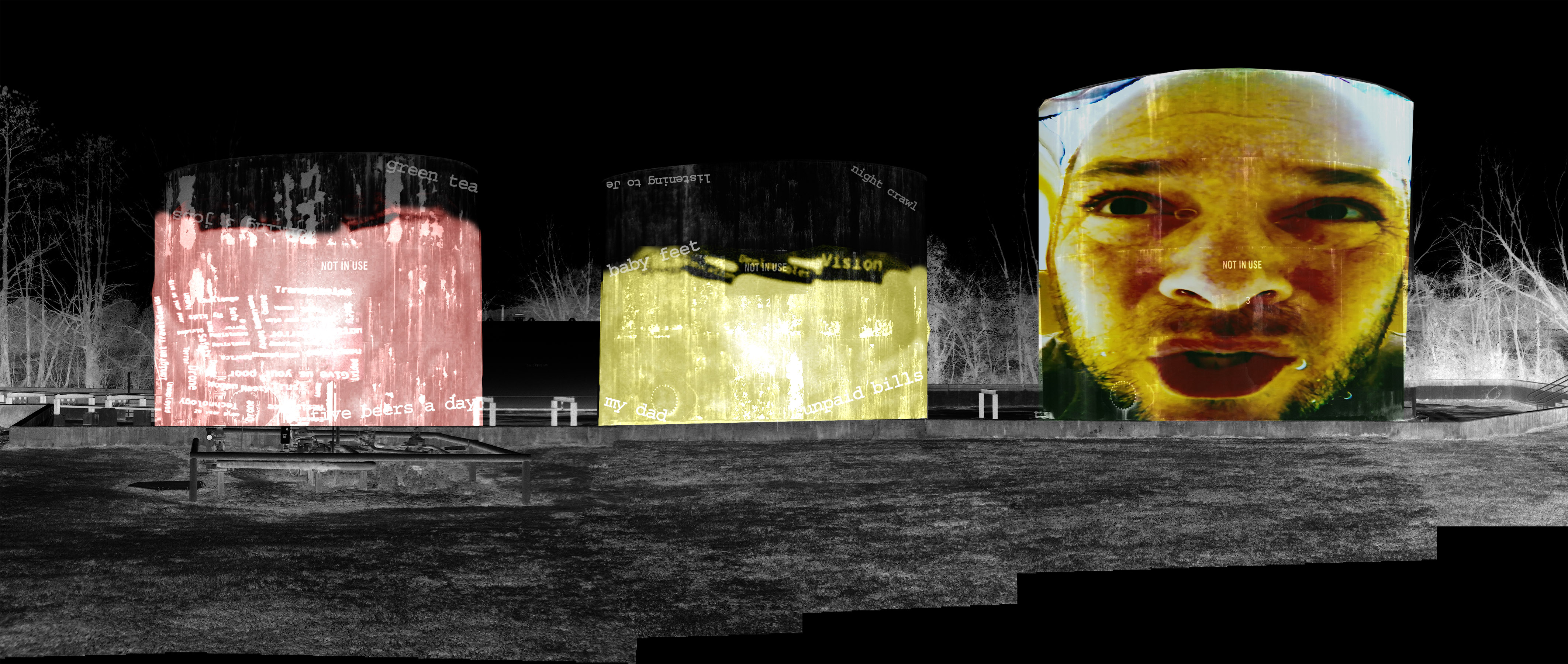 Draft of a projection art piece on the silos at Dix Park