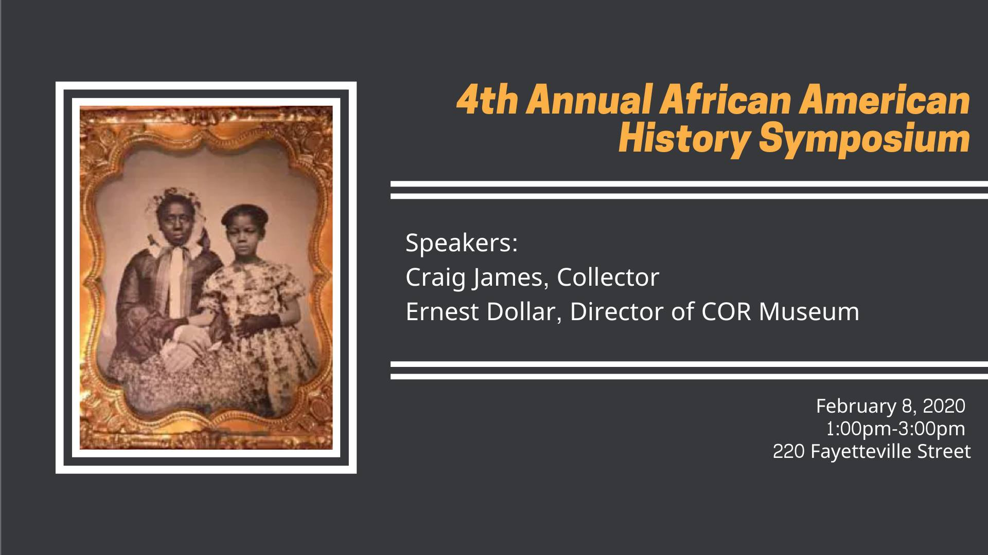African American Symposium banner including a 19th century photo of two African American women.