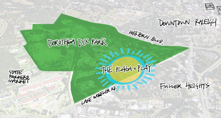 Graphic drawing of the Plaza & Play project area at Dix Park