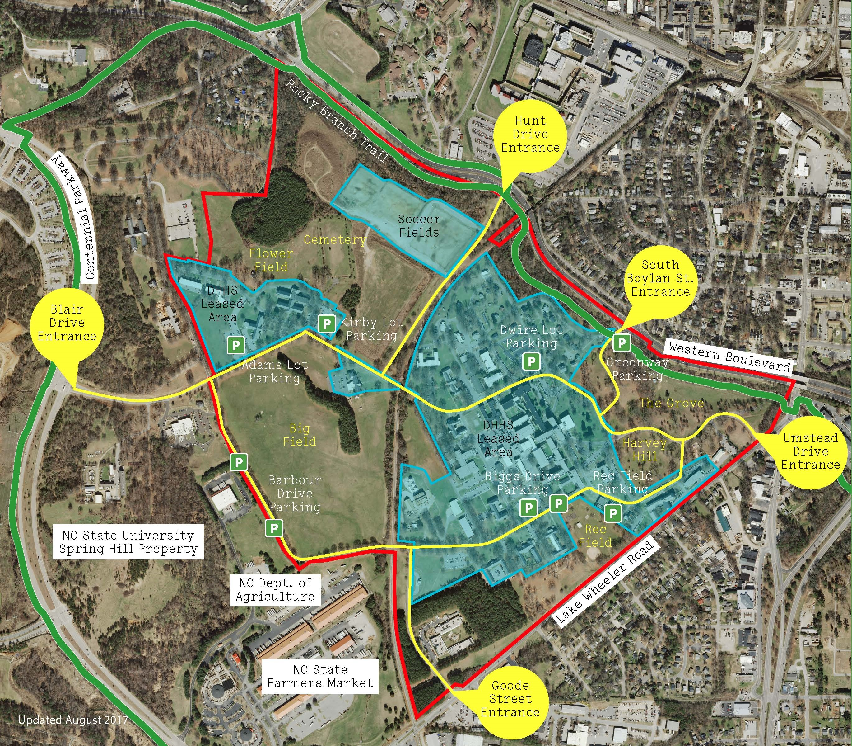 Map of Dix Park with indications of access to the site and parking areas