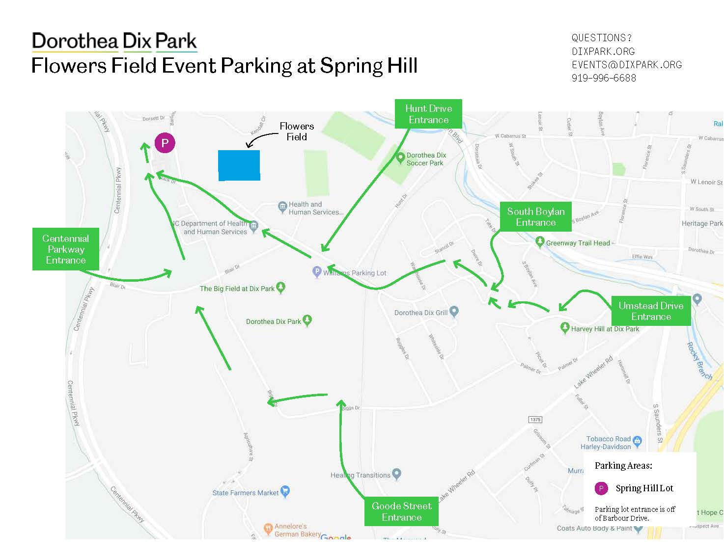 Spring Hill Parking Lot Map