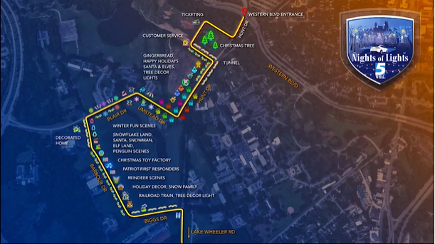 WRAL Nights of Lights illustrated route through Dix Park